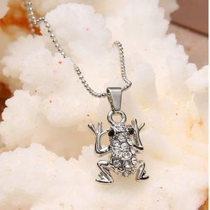 Jewelry - Frog crystal necklace, crystal frog necklace